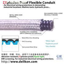 water proof metal Braided Flexible metallic Conduit with stainless steel overbraid protects cable from hot metal swarfs and EMC