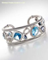 David Yurman inspired jewelryBlue Oval Mosaic Cuff