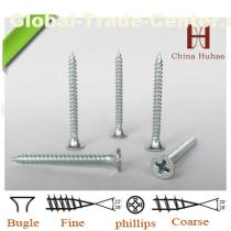 white zinc plated drywall screw