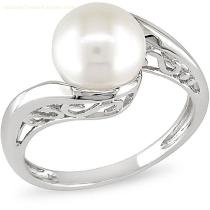 10k white gold freshwater pearl ring,10k white gold jewelry,pearl jewelry,fine jewelry