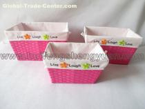 multi-colored paper rope wicker basket set