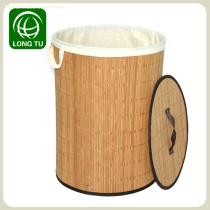 New design and Practical Folding Round Bamboo laundry basket/laundry basket foldable with flax lining and lid