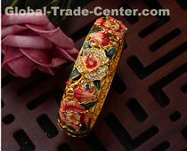 Cloisonne Bracelet Gold Hinge Enameled Jewelry Flower Bracelets for Women  * Bracelets are crafted from quality red copper alloy with gorgeo