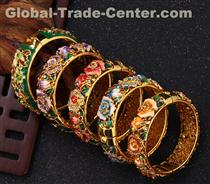 Vintage Jewelry Cloisonne Handcrafted Enameled Gorgeous Rhinestone Gold Hinged Cuff Bracelet Bangles  Cloisonne Bracelet Gold Hinge Enameled