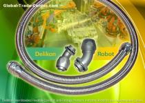 Delikon Over Braided Flexible Conduit and Fittings Protect Industry Robotics and Automation Cables.