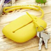 Yellow Food Grade Silicone Key Cover With O Shape Lifting Rope For Party Gifts