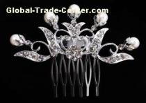 Crystal Rhinestone Wedding Bridal Pearl Hair Comb White 2.4''long * 3.5''wide for women