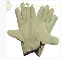 XXL Light Yellow Grain Full Pig Skin Leather Gloves with Wing Thumb for Warehousing