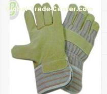 Cut Resistance Grain Pig Skin Leather Gloves with Grey - Red - Orange Striped Cotton Back