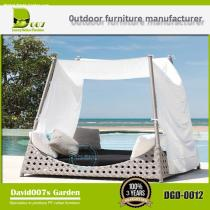 Modern outdoor hotel furniture poly rattan daybed  set