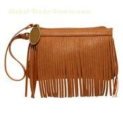 Fashion ladies' bags made of PU,top zip closure,front fringe detail,wrist strap attached to zip pull