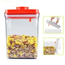 2.3L rectangle red lid eco friendly food use plastic one button open and lock transparent airtight food storage container