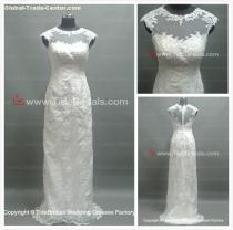 Sheath Lace wedding dress Cape sleeves bridal gown (AS1825K)