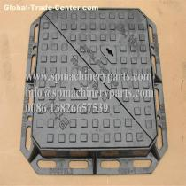 Heavy Duty Sand Cast Ductile Iron Double Triangular Manhole Cover & Frame Drawing From China