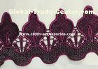 Rose Red Embroidered Water Soluble Lace Trimmings Wavy Shape 36G Per Yard