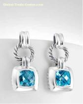David Yurman Blue Topaz Cushion Earrings
