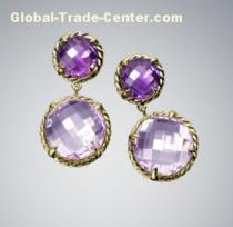 David Yurman Amethyst Chatelaine Earrings, 8mm and 12mm drop earring