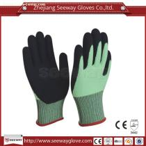 Seeway B515 13gauge Green HHPE Cut Resistant and Black Sandy Nitrile Dipped Work Gloves