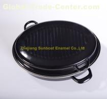 42*33*18cm dimension 1.0mm thickness cast iron enamel oval roaster