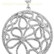 Antique Silver Clear Cubic Zircionia Circle Wedding Jewelry Pendant For Brides