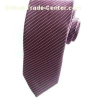 Red Wine Woven Striped Tie With White Dot