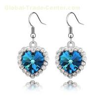 High Quality Blue Austrian Crystal Drop Earrings Heart Of The Ocean Full Of Diamond Wedding Jewelry Factory Wholesale
