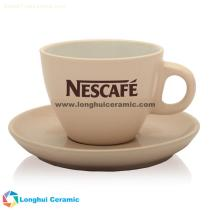 Personalized small two tone cappuccino ceramic coffee cup&saucer