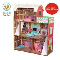 (TD025) Interesting Wooden Animal Print Barbie Dolls House With Furniture And Staircase/kids Wooden Toy Puppen House For Boys