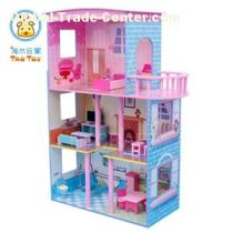 (TD015) Pink Wooden Barbie Dollhouse With Circling Balcony And Doll Furniture Inside/happy Doll Family Wooden Toy Set