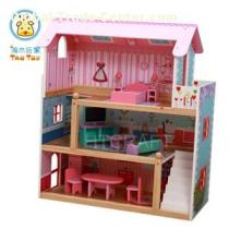 (TD013) Pink Wooden Puppen House With 15pcs Furniture And Two Plastic Staircases/lovely Barbie Doll Cottage Toy Set/role Play Wooden Toy