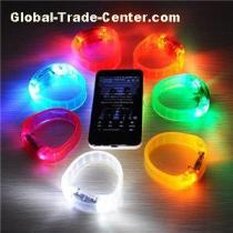 Voice Activated Sound Control Led Flashing Bracelet Bangle Wristband For Night Club Party Events