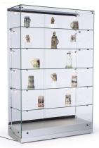 "48""w Glass Display Cabinet with 5 Height-Adjustable Glass Shelves and 10 Side Lights, Curio Cabinet with Lockable Sliding Door - Silver, MDF"