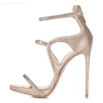 new design ladies summer high heel jewelly crystal sandals part shoes