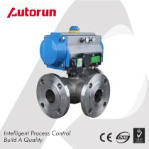 Chinese wenzhou supplier three-Way Pneumatic flang Ball Valve