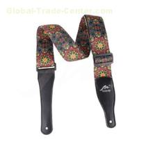 "2 1/2"" Nylon Guitar strap with sublimation -printed Square design pattern micro-fiber ends and tri-glide adjustment"