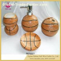 Basketball Bathroom Sets Ceramic Bathroom Accessories Gargle Tumbler Cup Lotion Dispenser Toothbrush Holder Soap Dish