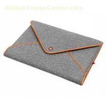 Wool Felt Bag Sleeve Case Cover Protector Genuine Leather Edge With Pocket For Apple Macbook Air 13 And Macbook Pro 13.3 Grey