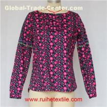 Casual Women Cotton Blouse Long Sleeve Flower Printed Blouse For Ladies