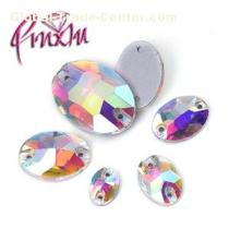 Shiny Crystal AB Oval Sew-On Crystal Rhinestones Flatback Stones Two Holes For Wedding Dress Crafts
