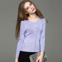 Lady knitted pointelle long sleeve cardigan