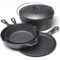 4pcs Black Coating Cast Iron Camping Cookware Set For Camping