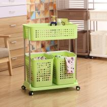 2 Tier Large Capacity Moving Laundry Basket