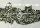 Silver Antique Machine Embroidery Lace Trim With Metallic Foil Print