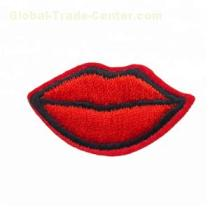Fashion design red lips embroidery patches