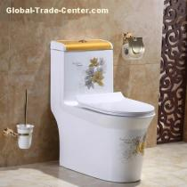 Floor mounted new decal ceramic factory directly siphonic toilet