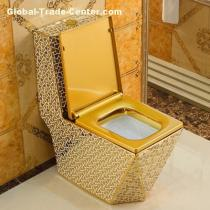 Luxury ceramic bathroom sanitary ware golden bathroom one piece toilet