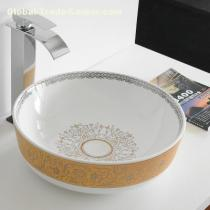 Luxury lavabo golden and white ceramic art painting basin