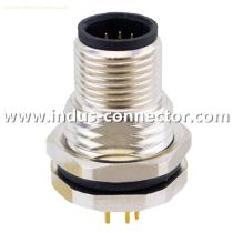 Right angle m12 3 pin male front lock PG9 thread panel mount connector
