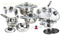 16pcs wide edge outside mirror polished stainless steel cookware set