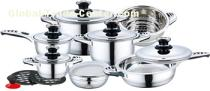 16pcs cheap price stainless steel cookware set with s/s bakelite mix handle